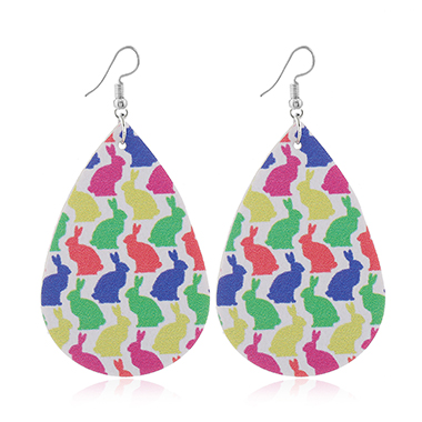 Multi Color Rabbit Print Faux Leather Earrings