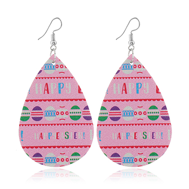 Pink Letter Print Faux Leather Earrings