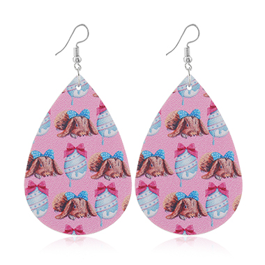 Pink Plastic Animal Print Earring Set