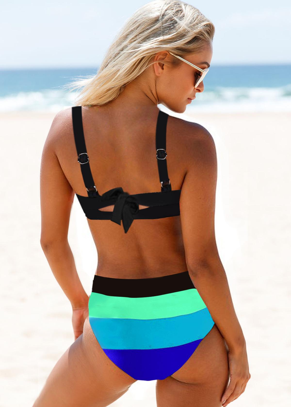 Geometric Print Wide Strap Cyan Bikini Set