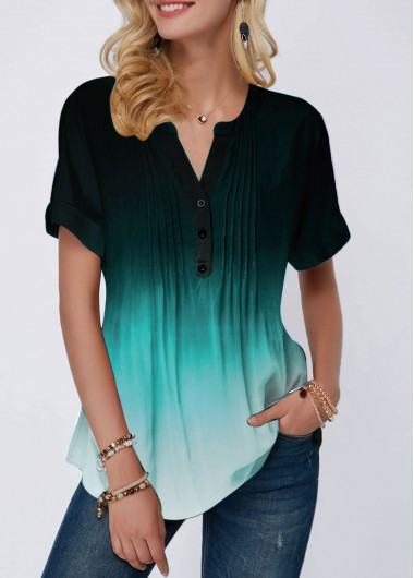 Women'S Green Ombre Dip Dye Casual Blouse Split Neck Short Sleeeve Crinkle Chest Button Detail Top By Rosewe - L