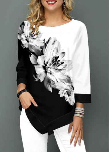Women'S Black And White Floral Printed Three Quarter Sleeve Tunic T Shirt Color Block Asymmetric Hem Casual Top By Rosewe - L