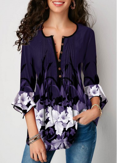 Women'S Deep Purple Floral Print Crinkle Chest Tunic Casual Top Flare Cuff Three Quarter Sleeve Split Neck Top By Rosewe - L