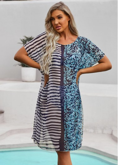 Round Neck Stripe Print Half Sleeve Cover Up - 10