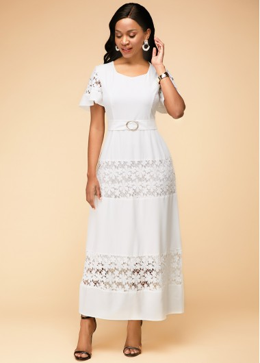 Cocktail Party Dress Short Sleeve Lace Panel Round Neck Maxi Dress - 10