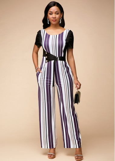 Short Sleeve Stripe Print Round Neck Jumpsuit - 10