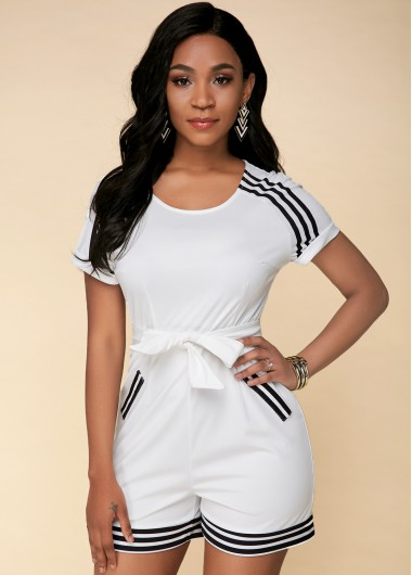 Striped Short Sleeve Bowknot White Jumpsuit - 10