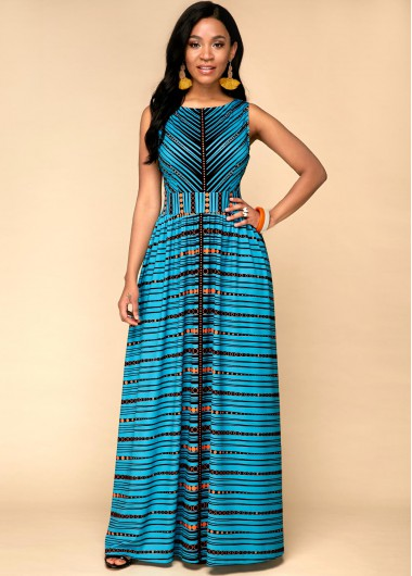 Women'S Cyan Tribal Printed Sleeveless Maxi Casual Dress Green High Waisted Elegant Party Dress By Rosewe - 10