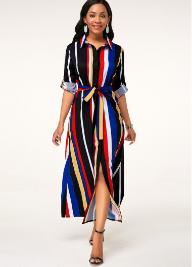 Cocktail Party Dress Turndown Collar Multicolor Striped Button Up Dress - 10