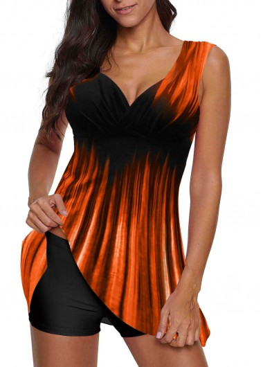 Women'S Orange Two Piece Wide Strap Swimdress Bathing Suit Gradient Padded Wire Free Swimsuit And Shorts By Rosewe - L