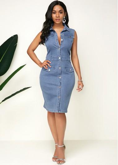 Women'S Denim Blue Sleeveless Button Up Casual Denim Dress Solid Color Turndown Collar Sheath Knee Length Dress By Rosewe - 10