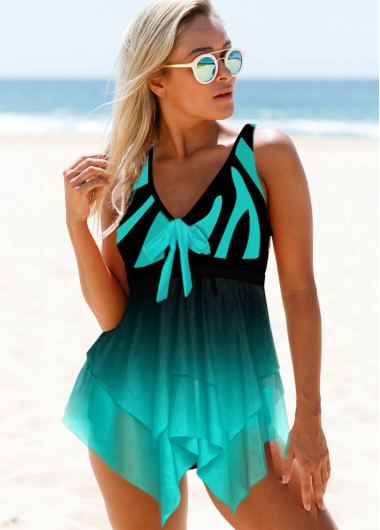 Bowknot Detail Wide Strap Mesh Panel Swimdress and Panty - 10