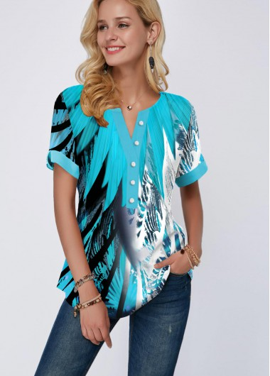 Women'S Light Blue Split Neck Short Sleeve Tunic Blouse Button Detail Printed Casual Top By Rosewe - 10