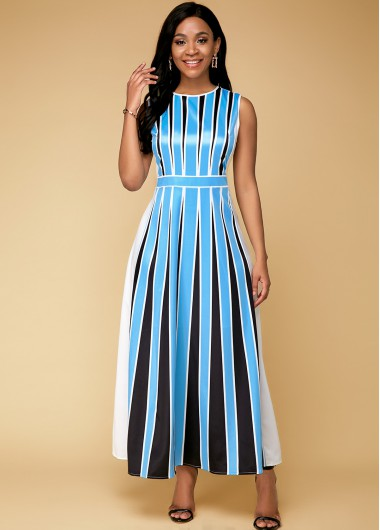 Cocktail Party Dress Sleeveless Stripe Print Blue Maxi Dress - 10