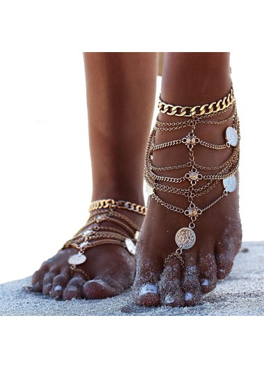 Mother's Day Gifts Coin Decoration Sexy Layered Gold Anklet - One Size
