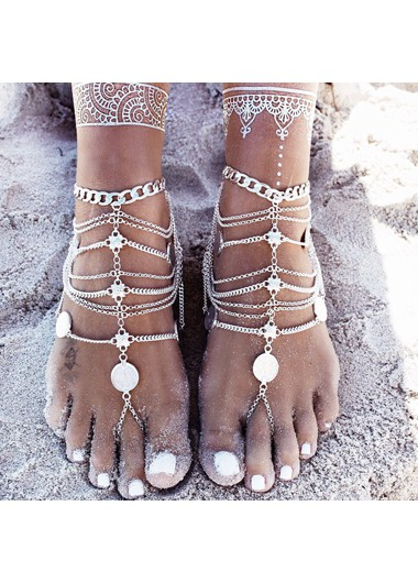 Mother's Day Gifts Layered Silver Coin Decoration Anklet for Lady - One Size