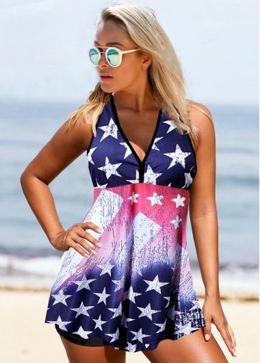 V Neck Straps American Flag Print Swimdress and Shorts - 10