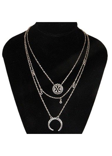Mother's Day Gifts Sliver Star and Moon Design Necklace for Women - One Size