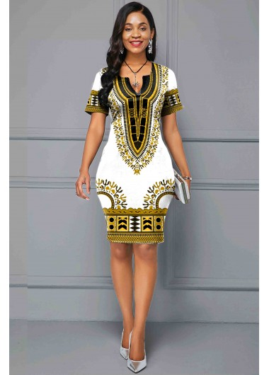 Women'S White Tribal Print Short Sleeve Sheath Dress Knee Length Split Neck Casual Dress By Rosewe - 10