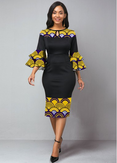 Black Dresses Keyhole Neckline Flare Sleeve Tribal Print Dress - 10