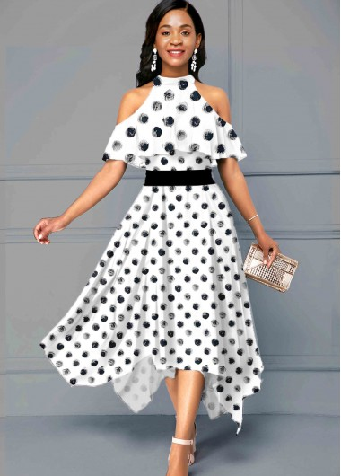 Rosewe Women Black And White Flowy Summer Dress Mock Neck Polka Dot Printed Half Sleeve Cold Shoulder Asymmertric Hem Maxi Dress - 10