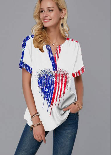 4Th Of July Women'S White Heart Print Split Neck Short Sleeve Patriotic Blouse American Flag Print Tunic Casual Top By Rosewe - 10