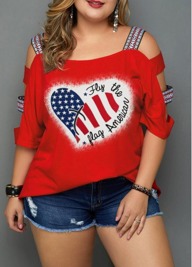 4Th Of July Women'S Red Plus Size American Flag Printed Patriotic T Shirt Strappy Three Quarter Sleeve Tunic Casual Top By Rosewe - 16W