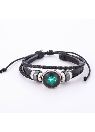Mother's Day Gifts Faux Leater Sagittarius Design Black Bracelet - One Size