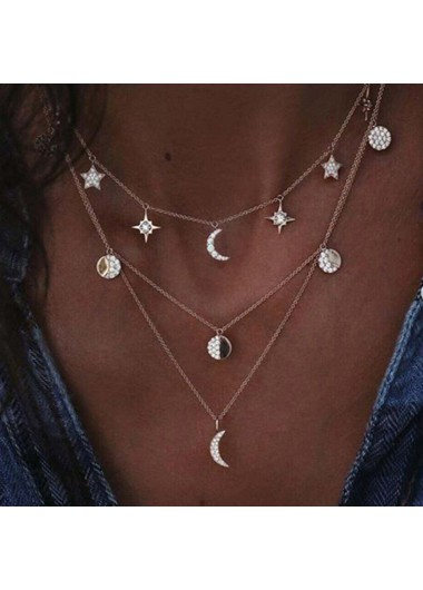 Mother's Day Gifts Metal Silver Star and Moon Decorated Necklace - One Size