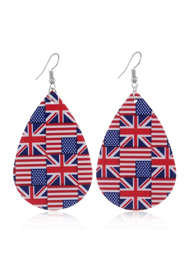 Mother's Day Gifts Print Flag Day Color Block Earring Set - One Size