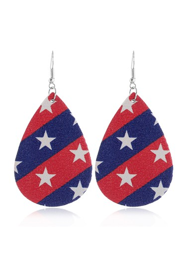 Mother's Day Gifts American Flag Print Starry Print Color Block Earring Set - One Size