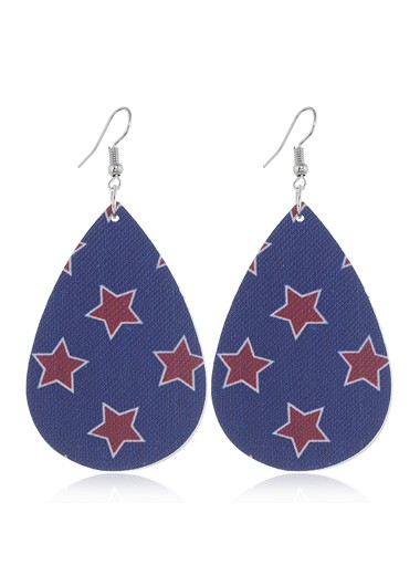 Mother's Day Gifts Starry Print Flag Day Blue Earring Set - One Size