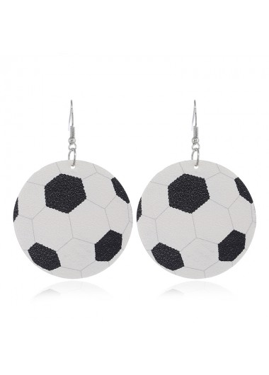 Mother's Day Gifts Football White Fun Sports Earring Set - One Size