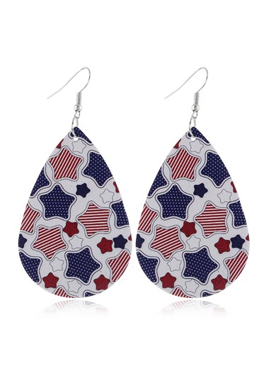 Mother's Day Gifts American Flag Print Earring Set - One Size