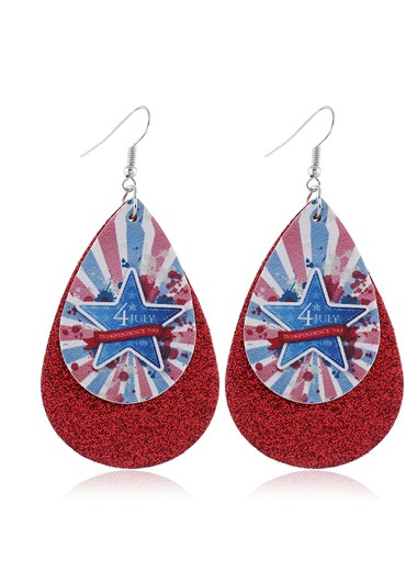 Mother's Day Gifts Flag Day Starry American Flag Print Wine Red Earring Set - One Size