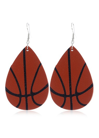 Mother's Day Gifts Basketball Print Brown Flag Day Earring Set - One Size