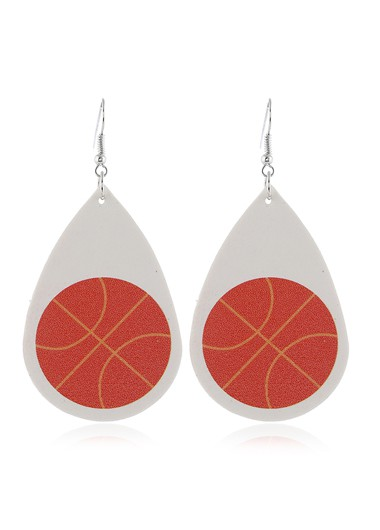 Mother's Day Gifts Basketball Print Flag Day White Earring Set - One Size