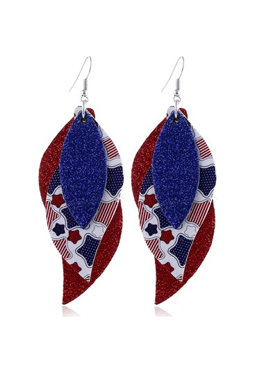 Mother's Day Gifts Color Block Layered Star Print American Flag PrintEarring Set - One Size