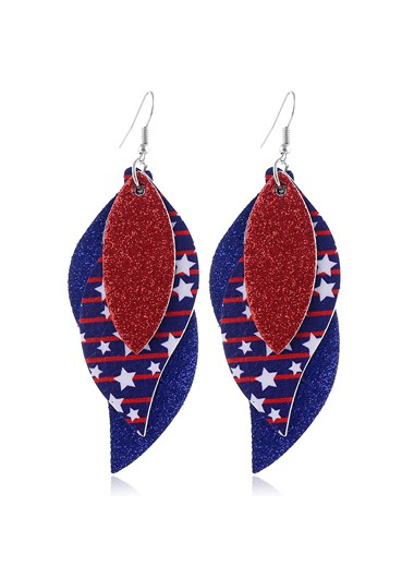 Mother's Day Gifts American Flag Print Color Block Earring Set - One Size
