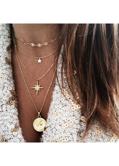 Mother's Day Gifts Star Shape Layered Gold Metal Necklace for Lady - One Size