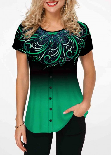 Women'S Green Tribal Printed Round Neck Tunic T Shirt  Ombre Dip Dye Short Sleeve Casual Top By Rosewe - L