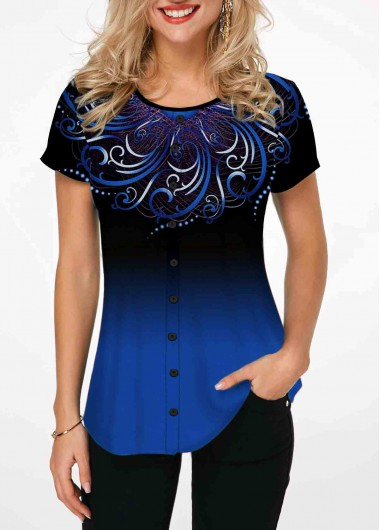 Women'S Blue Tribal Printed Short Sleeve Tunic T Shirt Gradient Blue Casual Top By Rosewe - L