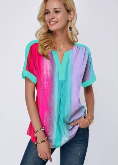 Short Sleeve Gradient Print Split Neck T Shirt - 10