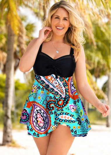 Plus Size Paisley Print Wide Strap Swimdress and Shorts - 1X
