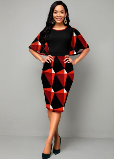 Women'S Black And Red Geometric Printed Overlay Sheath Elegant Dress Round Neck Half Sleeve Midi Party Dress By Rosewe - 10