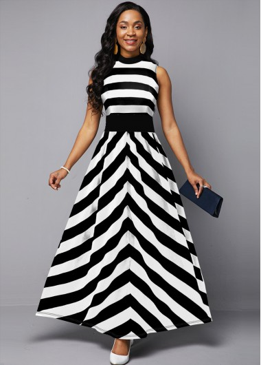 Cocktail Party Dress High Waist Monochrome Striped Sleeveless Maxi Dress - 10