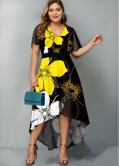 Short Sleeve Flower Print Yellow High Low Dress - 16W