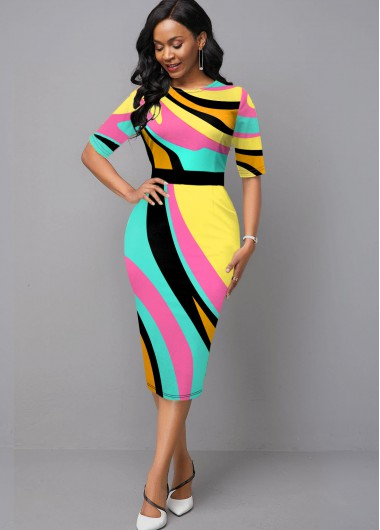 Wedding Guest Dress Half Sleeve Round Neck Geometric Print Dress - 10