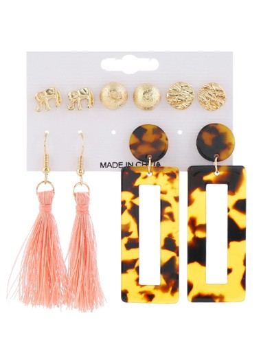 Mother's Day Gifts 5pairs Acrylic Tassel Detail Earring Set - One Size