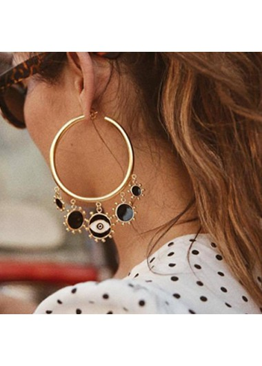 Mother's Day Gifts Metal Sun Shape Detail Gold Hoop Earring Set - One Size